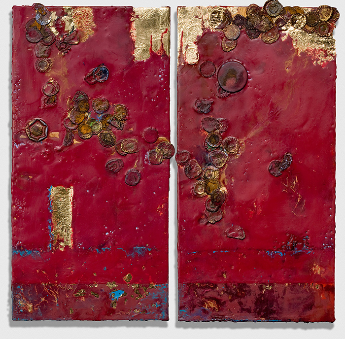 Brenda Howell, Encaustic Assembage, Mystic Dyptych