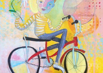 Glynis Raisch, Acrylic on Canvas, Yellow Bike Boy